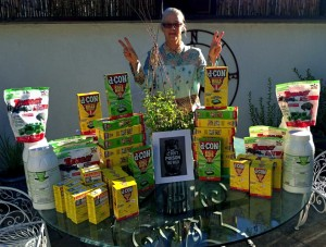 Kian Schulman with rodent poisons collected from stores and homeowners