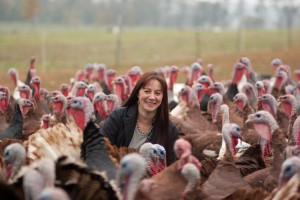 Ayrshire's Sandy Lerner and flock of Predator Friendly Heritage Breed Turkeys